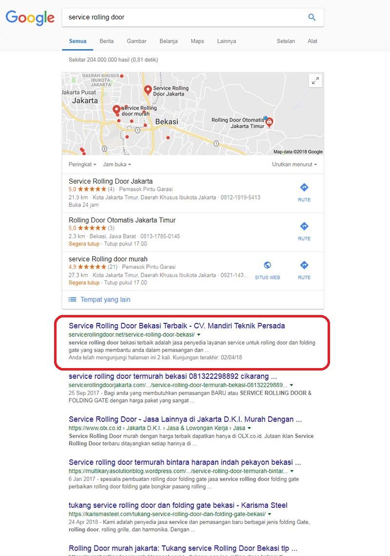portofolio jasa seo keyword service rolling door